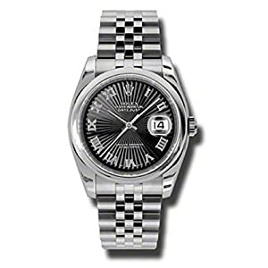 Rolex Oyster Perpetual Datejust 36mm Stainless Steel Case, Domed Bezel, Black Sunbeam Dial, Roman Numerals and Jubilee Bracelet.