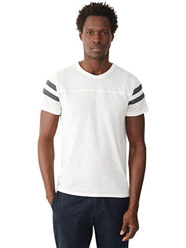 Alternative Men's Short Sleeve Football Tee, Ivory/Vintage Black, Large