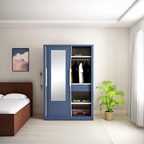 Godrej Interio Slide N Store Pro Plus 2-Door Wardrobe with Mirror (Matte Finish, Textured Phiroja Blue)