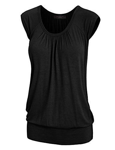 Sweetheart Tunic Top (LL WT1054 Womens Solid Short Sleeve Sweetheart Top XL BLACK)