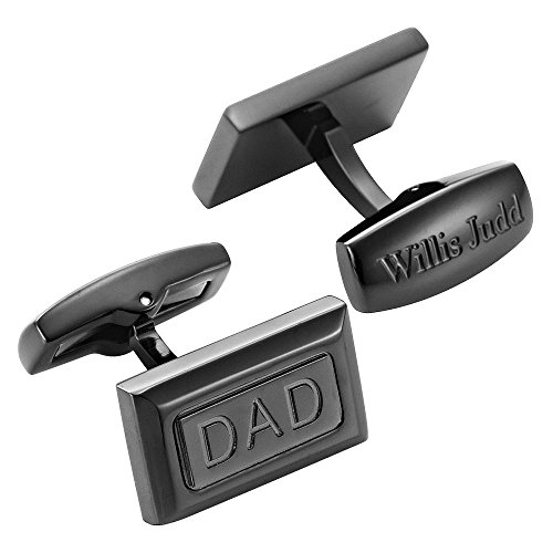 Willis Judd Mens DAD Premium Cufflinks Stainless Steel in Gift Pouch Black