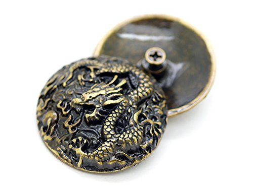 CRAFTMEmore 2 PCS 1-3/8 inches Chinese Dragon Concho Screw Back Leather Craft Embellishments CHS15 (Bronze)