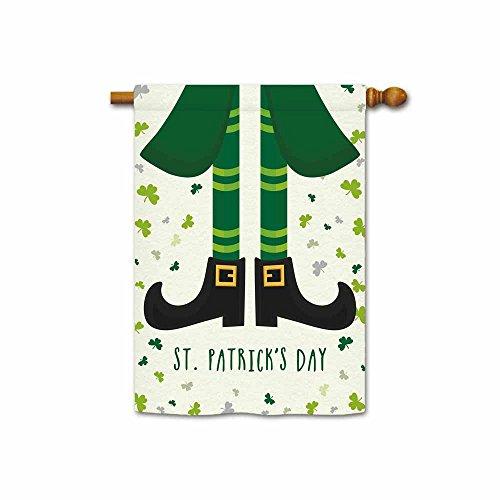 Hamory Leprechaun Green Foot and Shamrocks Decorative Saint Patricks Day House Flag 28x40 Inch Printed Both Sides ()