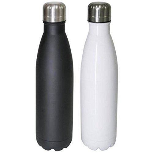 Mainstays Double-Wall Vacuum Insulated Stainless Steel Bottle 17 oz (500ml) 48+ Hours Cold Performance, Arctic White and Rich Black, 2pk