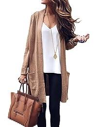 Jumojufol Women's Knit Long Sleeve Open Front Fall Long Cardigan Sweaters