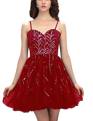 JYDress - Vestido - trapecio - Sin mangas - para mujer rojo granate 46