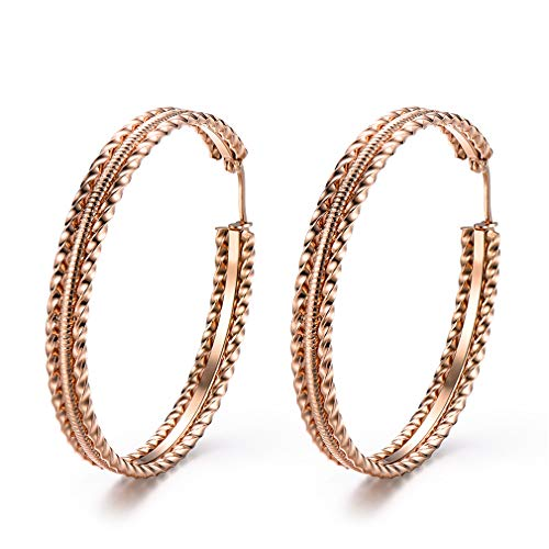 - Stainless Steel Hoop Earrings, Gold Plated Rose Gold Plated Silver Plated For Women (Pattern Rose Gold50mm)