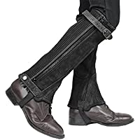 Derby Origjnals Adult & Kids Suede Leather Half Chaps Zipper & Elastic for Horse Riding or Motorcycle Use (Brown, XL)
