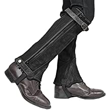 Derby Origjnals Adult & Kids Suede Leather Half Chaps Zipper & Elastic for Horse Riding or Motorcycle Use