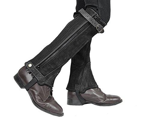 ダービーOriginalsスエードレザーハーフチャップスwith Zipper &ゴムを卸売価格 B015Z5CL8S XL|ブラック ブラック XL
