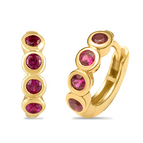 18K Yellow Gold Plated Sterling Silver and Synthetic Ruby Huggie Fashion Earrings in Bezel Setting