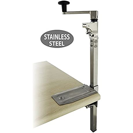 BOJ Commercial Grade Manual Can Opener Stainless Steel Heavy Duty Table Mount With 19 Bar Length
