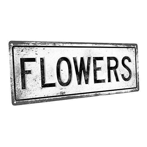 "Homebody Accents Flowers 6""x16"" Metal Sign, Retro, Planting, Growing"