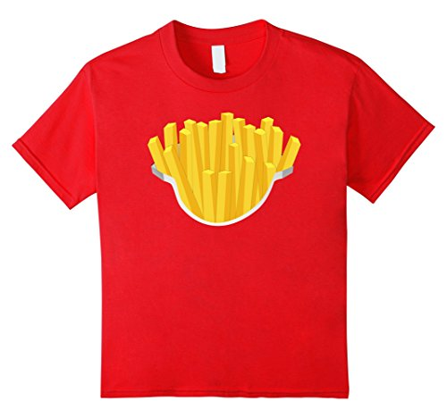 Kids French Fries Costume Shirt Salty Crispy Fry Fast Foodie 12 Red (French Fries Child Costume)