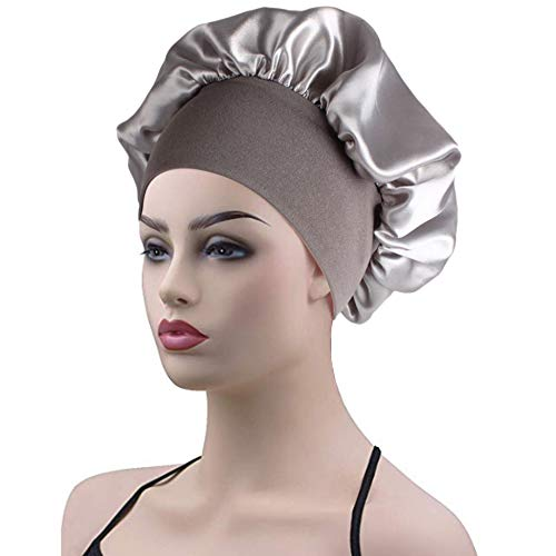 (Womens Sleep Night Cap Wide Band Satin Bonnet for Hair Beauty,Hair Care Cap,Chemo Beanie,Curly Springy Hair)