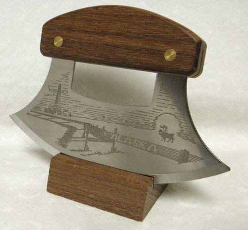 - Alaskan Inupiat Style Walnut Ulu Knife with Pipeline Etched Blade & Display Stand