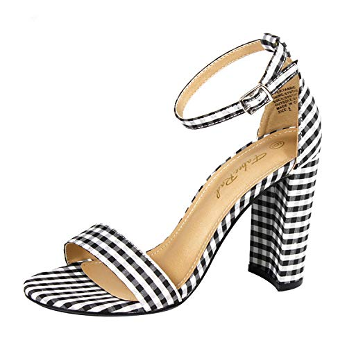Fabee Rad Strappy Open Toe Heel Sandal with Lattice Print Classic Block High Heel Pumps with Adjustable Ankle Strip
