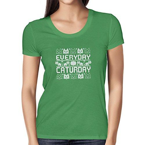 Texlab Everyday Caturday - Damen T-Shirt, Größe S, Grün