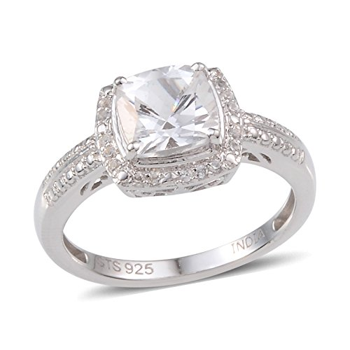 Platinum Over Sterling Silver Wedding Ring Created White Sapphire For Women 1.7 cttw Size 7 (Sapphire Band Created)