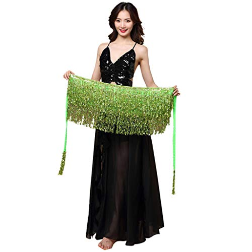 (POQOQ Scarf Women Belly Dance Costume Belt Skirt Hip Wrap Outfit Sequins Tassels Bead Scarf Light)