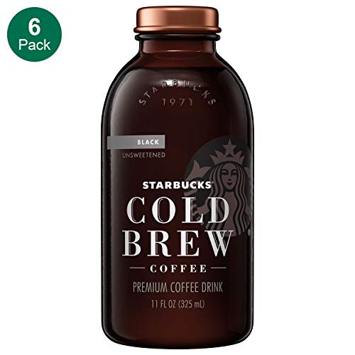 (Starbucks Cold Brew Coffee, Black Unsweetened, 11 oz Glass Bottles, 6 Count )
