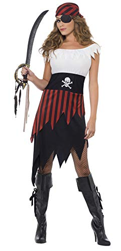 Smiffys Women's Pirate Wench Costume, Dress and Headpiece, Pirate, Serious Fun, Size 6-8, -