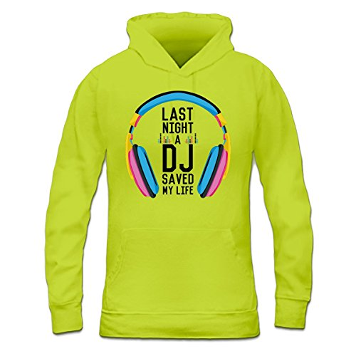 Sudadera con capucha de mujer Last Night a DJ Saved my Life by Shirtcity verde limón