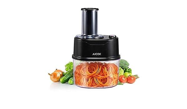 Aicok Espiral Cortador el/éctrico Espiral, 120/W Verduras Cortador en Espiral, 2/Cuchillas Intercambiables de Acero, para Espaguetis y Grasa uccine, 1,7L Bol Grande extra/íble, Color Negro