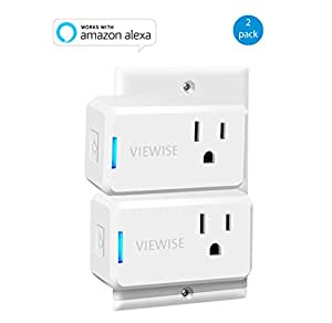 VIEWISE Smart Plug Mini, Wi-Fi Switch Outlet Socket, No Hub Required, Compatible with Alexa, Control your Devices from Anywhere, Mini Size, Amazon Echo Voice Control, Remote Control (2 Pack)