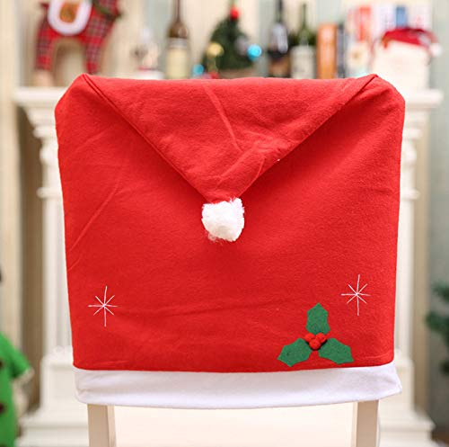 Koogel Christmas Chair Covers,4 Pcs 25x20inch Chair Back Covers Christmas Decorations for Christmas Holiday Festive Kitchen Decor
