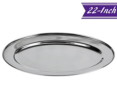 Oval Stainless Steel Platter (22-Inch Oval Serving Platter, Large Stainless Steel Serving Tray - Quality Serveware for Home & Restaurant, Great for Parties)