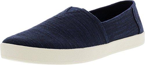 TOMS Shoes Avalon Sneakers Navy Slubby Linen Mens 11.5