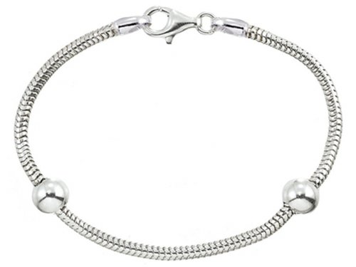 Zable 7 inch Sterling Silver Snake Bracelet with Smart Bead/Charm