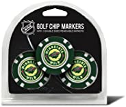 Team Golf NHL Golf Chip Ball Markers (3 Count), Poker Chip Size with Pop Out Smaller Double-Sided Enamel Marke