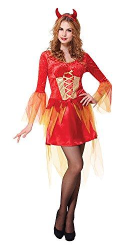Bristol Novelty AC658 Devil Maiden Costume, Orange, UK Size 10-14