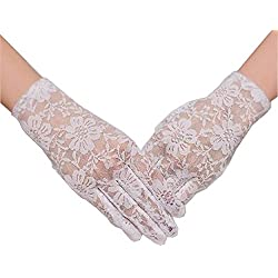 TANGFUTI Fahsion Short Lace Five Fingers Bridal Gloves 017IV