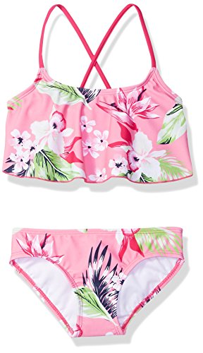 (Kanu Surf Big Girls' Alania Flounce Bikini Beach Sport 2-Piece Swimsuit, Floral Pink, 7)