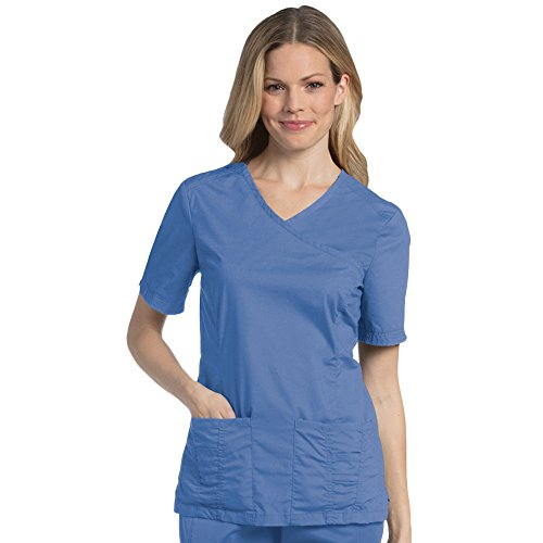 - Landau Pre-Washed Women's Mock Wrap Solid Scrub Top X-Small Ceil Blue