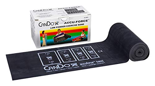 FEI 10-5915 Can-Do AccuForce Exercise Band Roll with Dispenser Box, X-Heavy, 6 yd. Length, Black