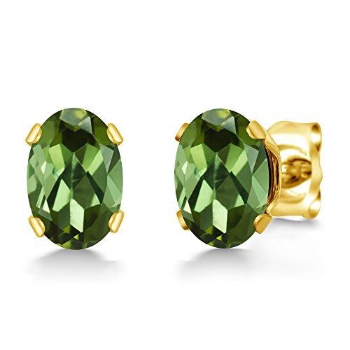 0.80 Ct Oval Shape Green Tourmaline Yellow Gold Plated Silver Stud Earrings (Earrings Date Tourmaline)