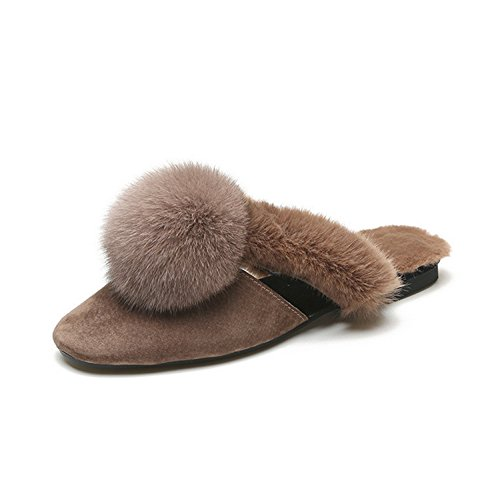 Flip Slippers Fur Grey shoes Toe Pointed Closed Comfort Shoes Heel DANDANJIE Fall For Casual Velvet Women's Flops Winter Dress Fur Home pom Pom Toe Flat New amp; Lining xvqq7wFp0n