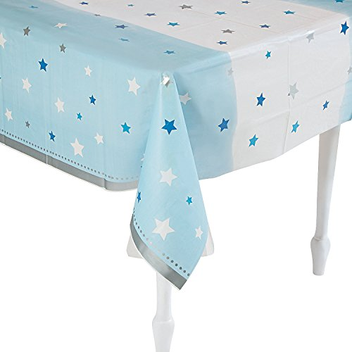 Fun Express One Little Star Boy Reusable Plastic Tablecloth Party Supplies Decoration for Birthday and Baby Shower Party 54