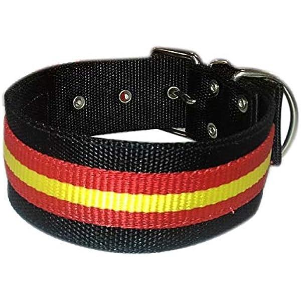 Tango and Tequila Collar para Perros Nylon Negro con Bandera España 5cm Ancho - Longitud - 65cm: Amazon.es: Productos para mascotas