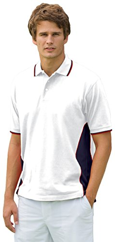 Marathon Pique - Proline Men'S Marathon Side Panel Pique Performance Polo (White_Navy_Red) (M)