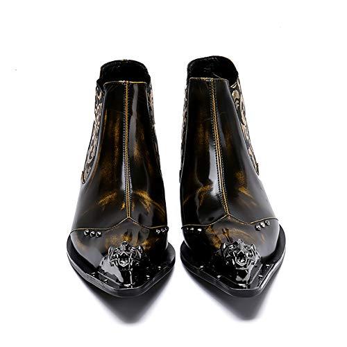 Chaussures Fer Pour Marée De Hommes Yellow1 Tête shoes Cuir Courtes Bottes ¥ À En Pointu Bout w48w0qT