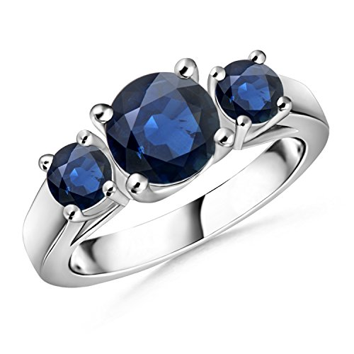 Classic Prong Set Sapphire Three Stone Ring in Silver (4mm Blue Sapphire) by Angara.com