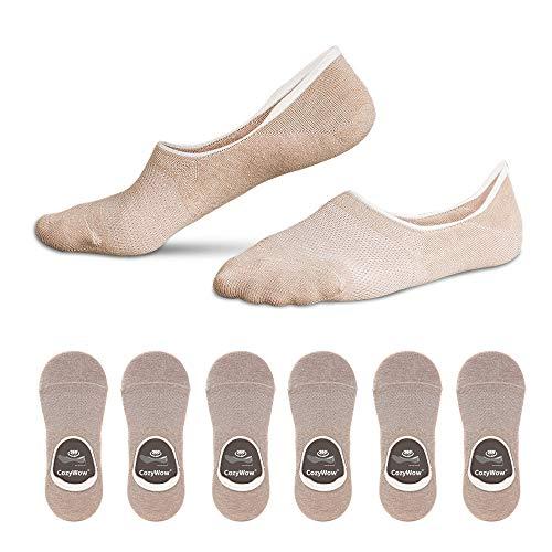 Cozywow Cotton No Show Socks Low Cut Non Slip Sports Casual Socks with Grip Gel for Women & Men 3Pairs/6 Pairs (US Women Shoe 7.5-9.5 = Men 6-8, 6 Pairs-Light Apricot)