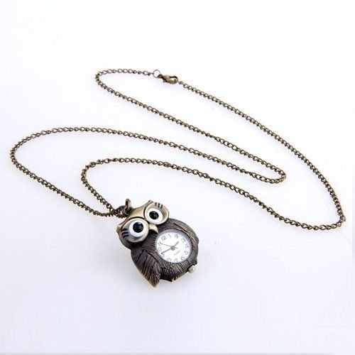 Alicenter(TM) WATCH-NECKLACE METAL owl-shaped 42 x 31 mm BRONZE - Metal Bronz