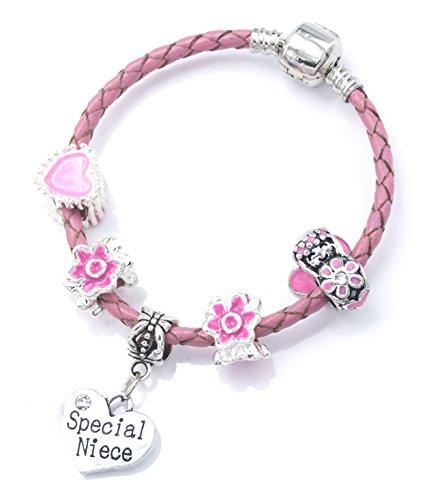 Special Niece' Cuir Rose Bracelet à breloques pour fille avec pochette cadeau en organza