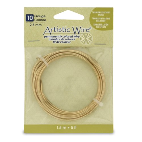 Artistic Wire 10 Gauge Wire, Tarn Resist Brass, 5-Feet